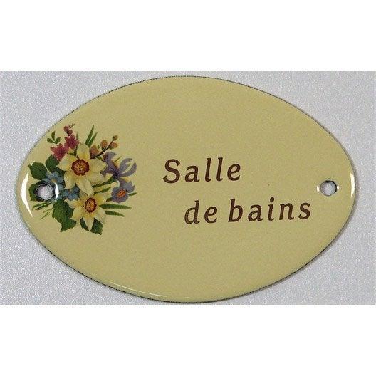 Plaque maill e salle de bain en acier leroy merlin for Plaque de porte wc et salle de bain