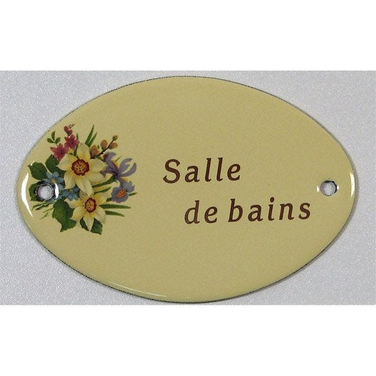 Plaque maill e salle de bain en acier leroy merlin - Plaque de porte wc design ...