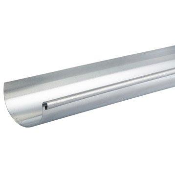 Gouttière demi-ronde acier galvanisé SCOVER PLUS dév.25 cm grise L.2 m