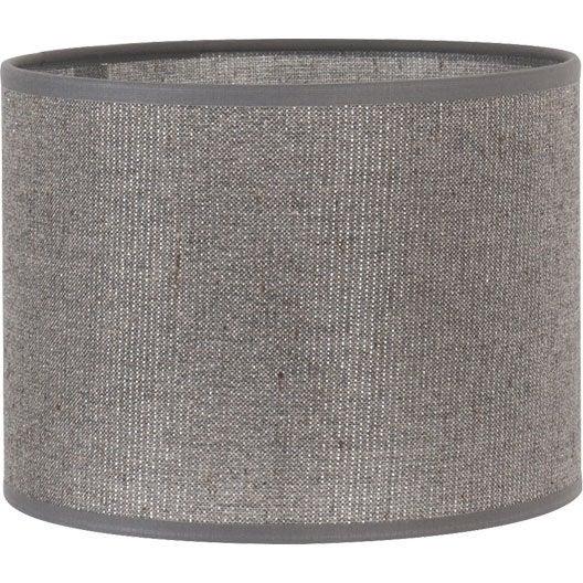 abat jour tube 40 cm coton gris paillettes leroy merlin. Black Bedroom Furniture Sets. Home Design Ideas