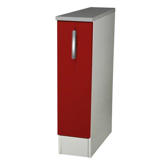 Meuble de cuisine bas 1 porte rouge h86x l15x p60cm for Chant meuble cuisine