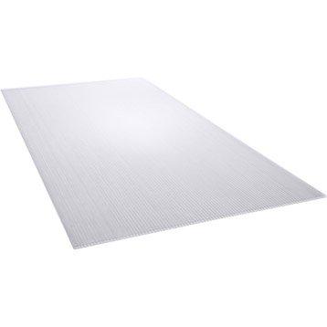 Plaque polycarbonate alvéolaire clair lisse, L.50 x l.105 cm x Ep.4 mm