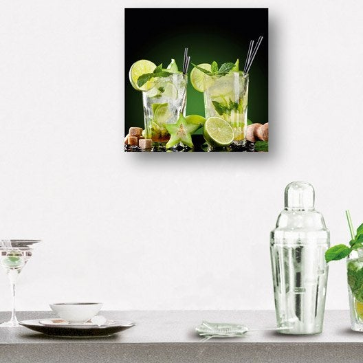 Verre imprim mojitos deco glass x cm leroy merlin - Leroy merlin tableau deco ...