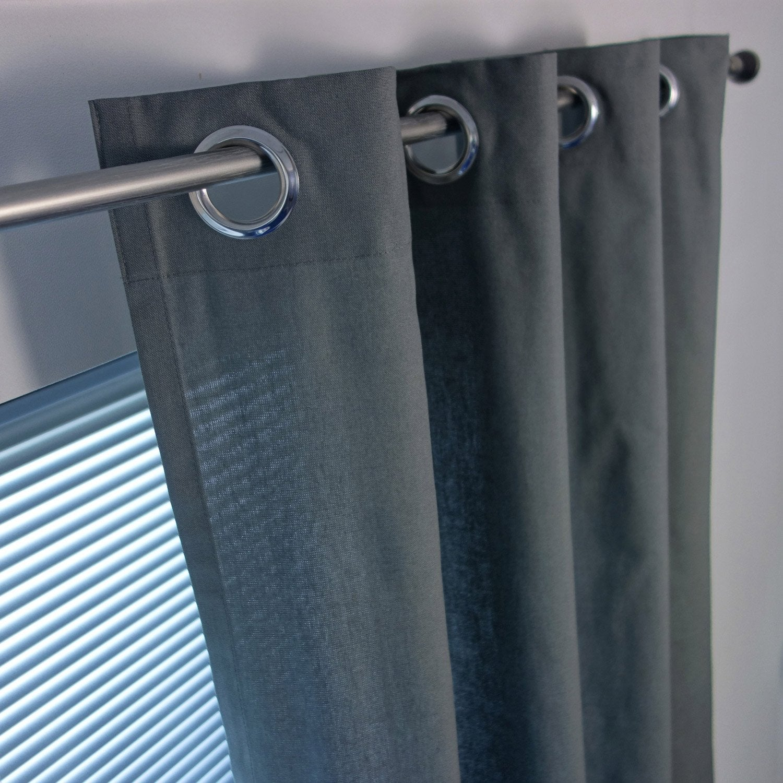 Rideau tamisant, Sunny, gris foncé, l.140 x H.260 cm INSPIRE