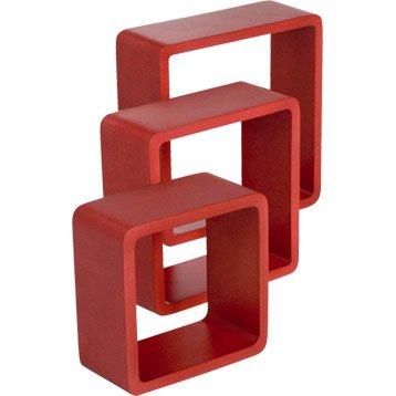 Cube rouge-rouge n°3 rouge-rouge n°3 SPACEO, L.28 x P.28 cm Ep.15 mm