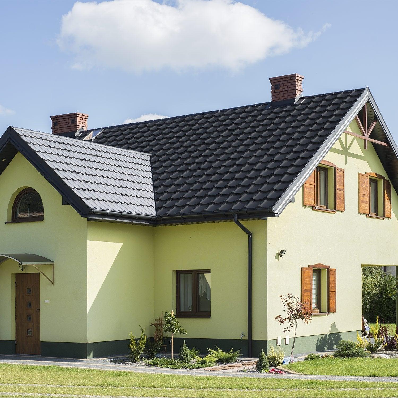 Plaque de toiture imitation tuile acier noir mat l.1.198 x L.0.7 m TUR'TUILE | Leroy Merlin