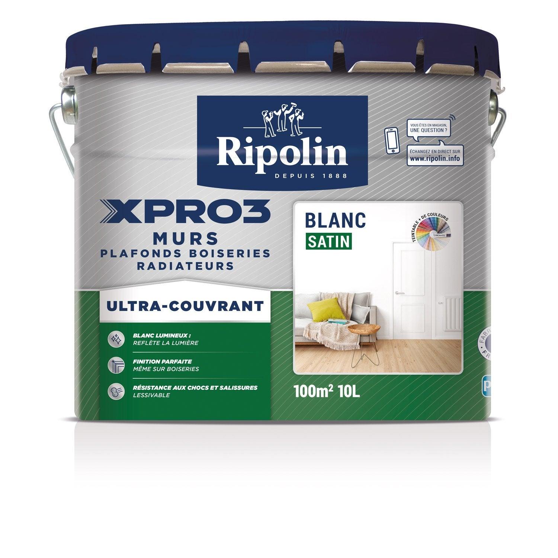 Peinture blanche mur plafond et boiserie xpro3 ripolin satin 10 l leroy merlin - 2eme couche de peinture sans trace ...