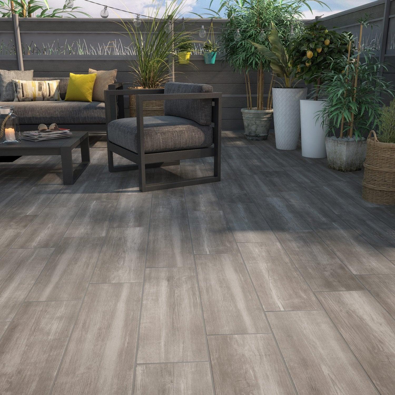 Carrelage Exterieur Imitation Bois carrelage sol extérieur forte effet bois taupe apero l.20 x l.60.4 cm