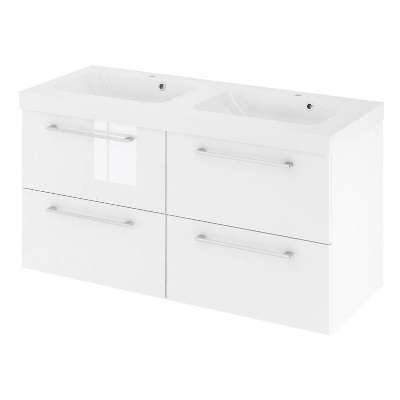 Meuble simple vasque l.120 x H.58 x P.46 cm, blanc, Remix