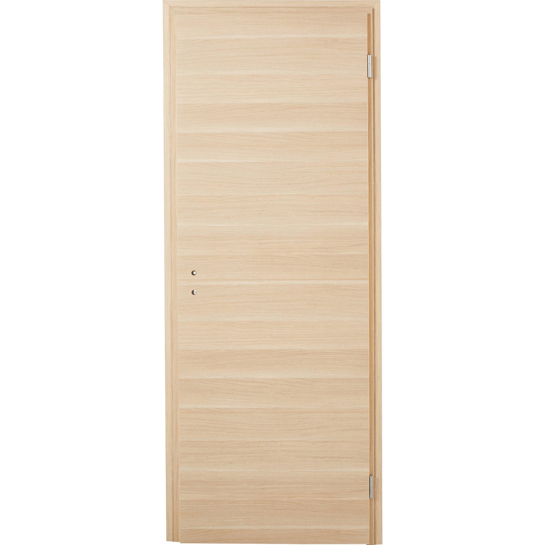 Bloc-porte rénovation bois revêtu Madrid 2 H.204 x l.73 cm, poussant droit
