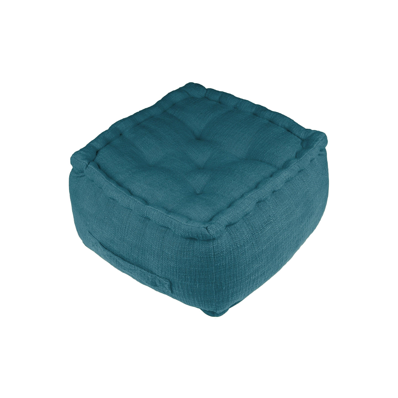 Pouf Venise, bleu canard l.40 x H.40 cm