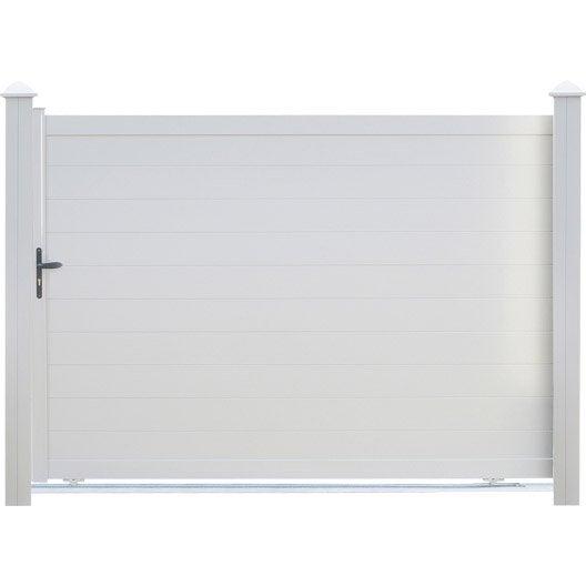 portail coulissant aluminium lao blanc naterial x cm leroy merlin. Black Bedroom Furniture Sets. Home Design Ideas