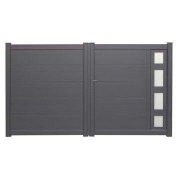 portail coulissant en aluminium austin 3 m x 1 70 m couleur gris zingu. Black Bedroom Furniture Sets. Home Design Ideas
