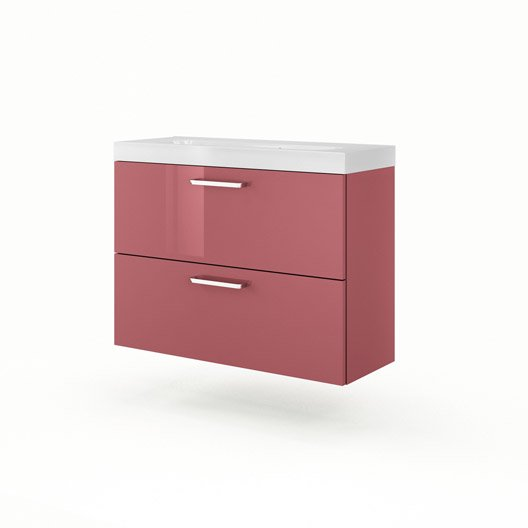 Meuble vasque rouge sensea neo line leroy merlin for Ensemble lavabo meuble leroy merlin