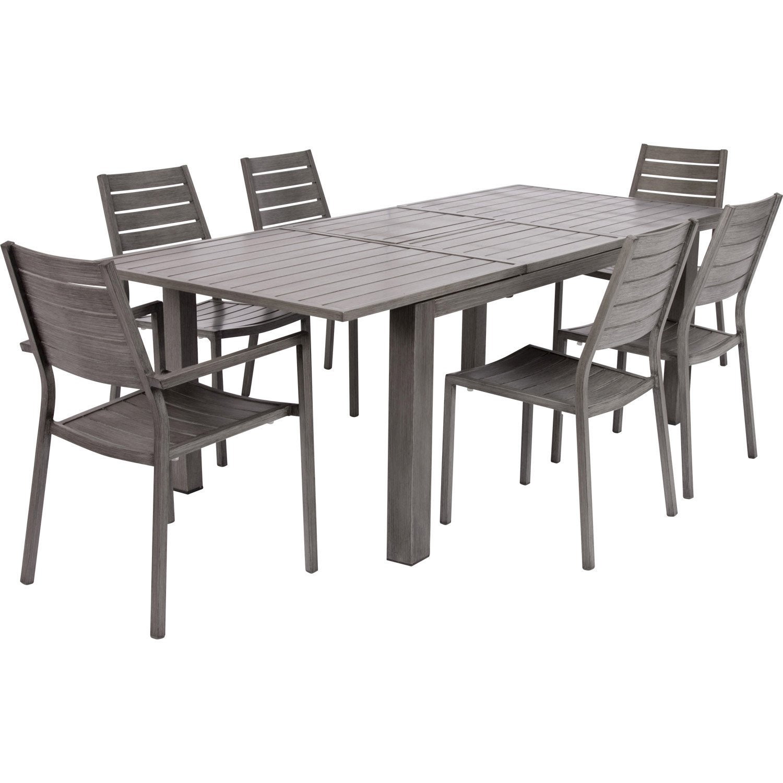 Table de jardin naterial antibes rectangulaire gris 6 8 personnes leroy merlin for Table jardin rectangulaire