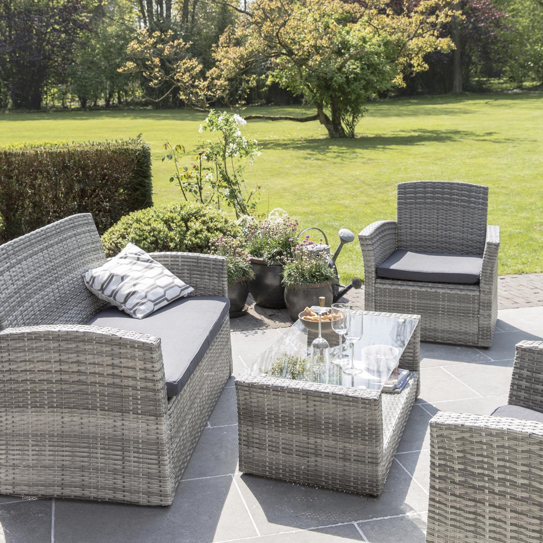 salon de jardin maldives r sine tress e gris 4 personnes leroy merlin. Black Bedroom Furniture Sets. Home Design Ideas