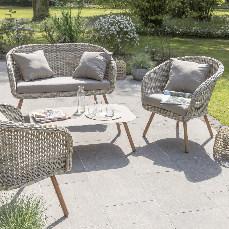 Salon bas de jardin New england résine tressée naturel, 4 personnes ...