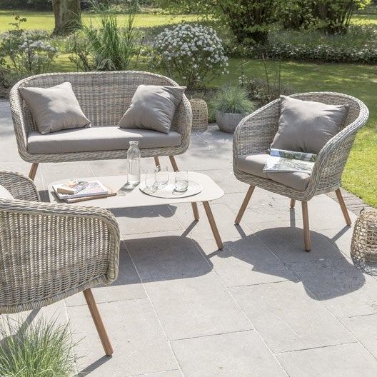 salon bas de jardin new england rsine tresse naturel 4 personnes - Leroy Merlin Salon De Jardin En Resine Tressee
