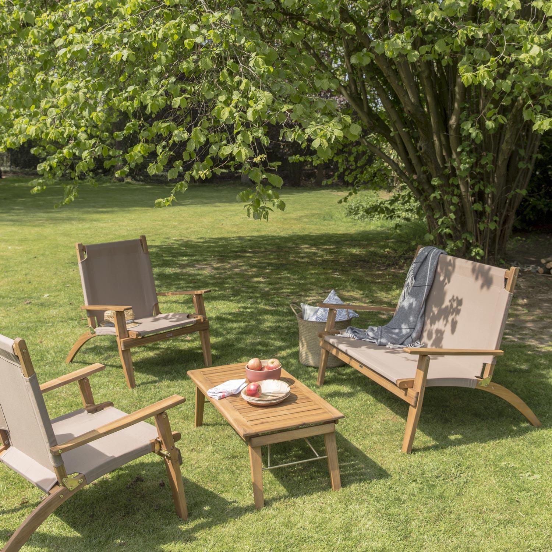 Salon bas de jardin Primavera bois naturelle, 4 personnes