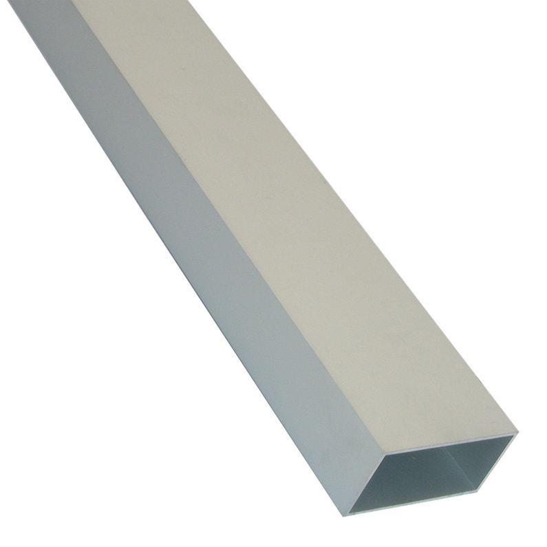 Tube Rectangulaire Aluminium Brut Argent L1 M X L2 Cm X H1 Cm