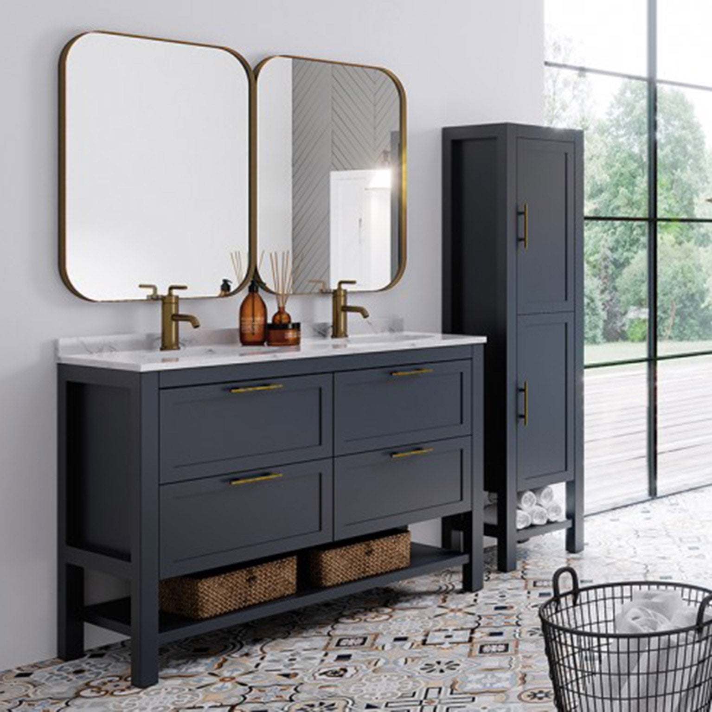 Meuble de salle de bains double vasque, Kende l.140 x H.56.8 x P.45 cm,  bleu, Ke