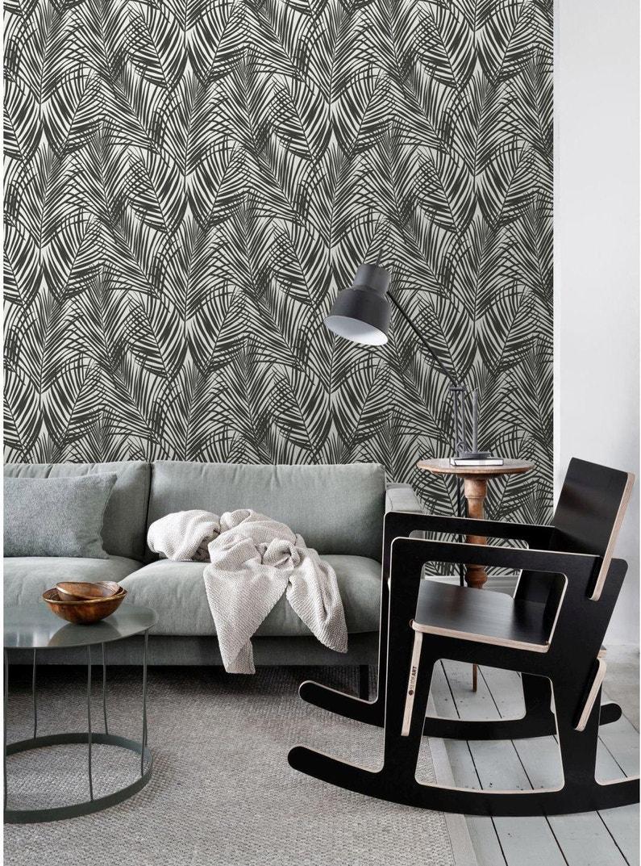 Leroy Merlin Papier Peint Salle De Bain papier peint intissé jungle fever feuilles palmier noir et blanc