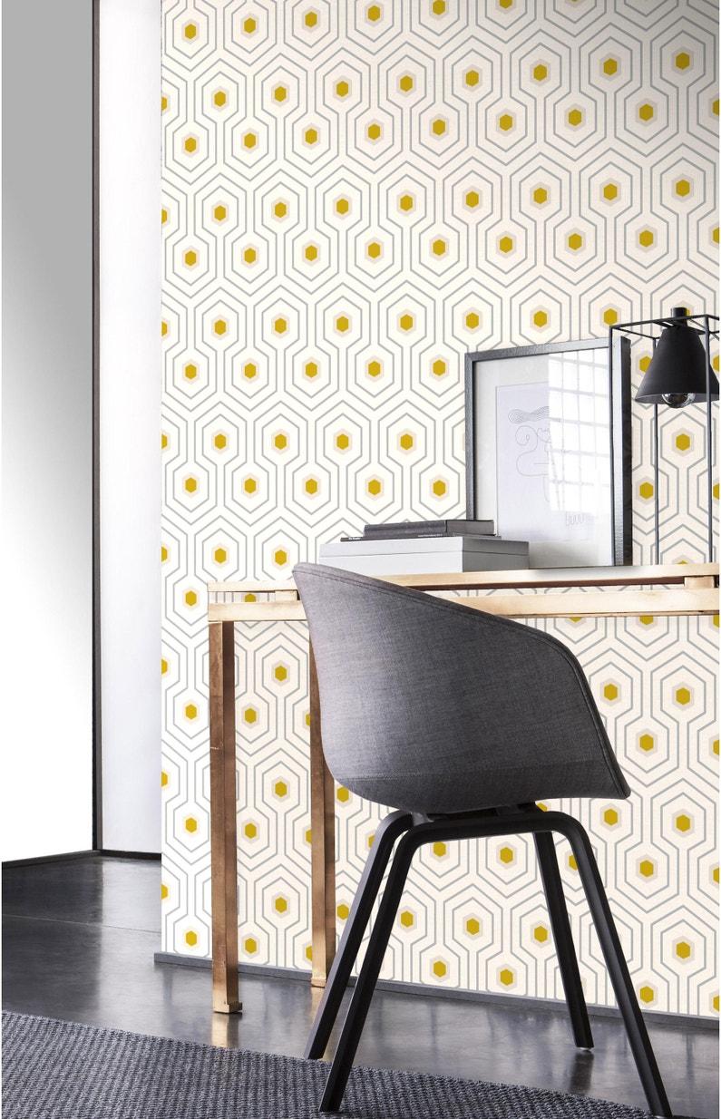 Leroy Merlin Papier Peint Salle De Bain papier peint intissé géo motifs, jaune/gris foncé