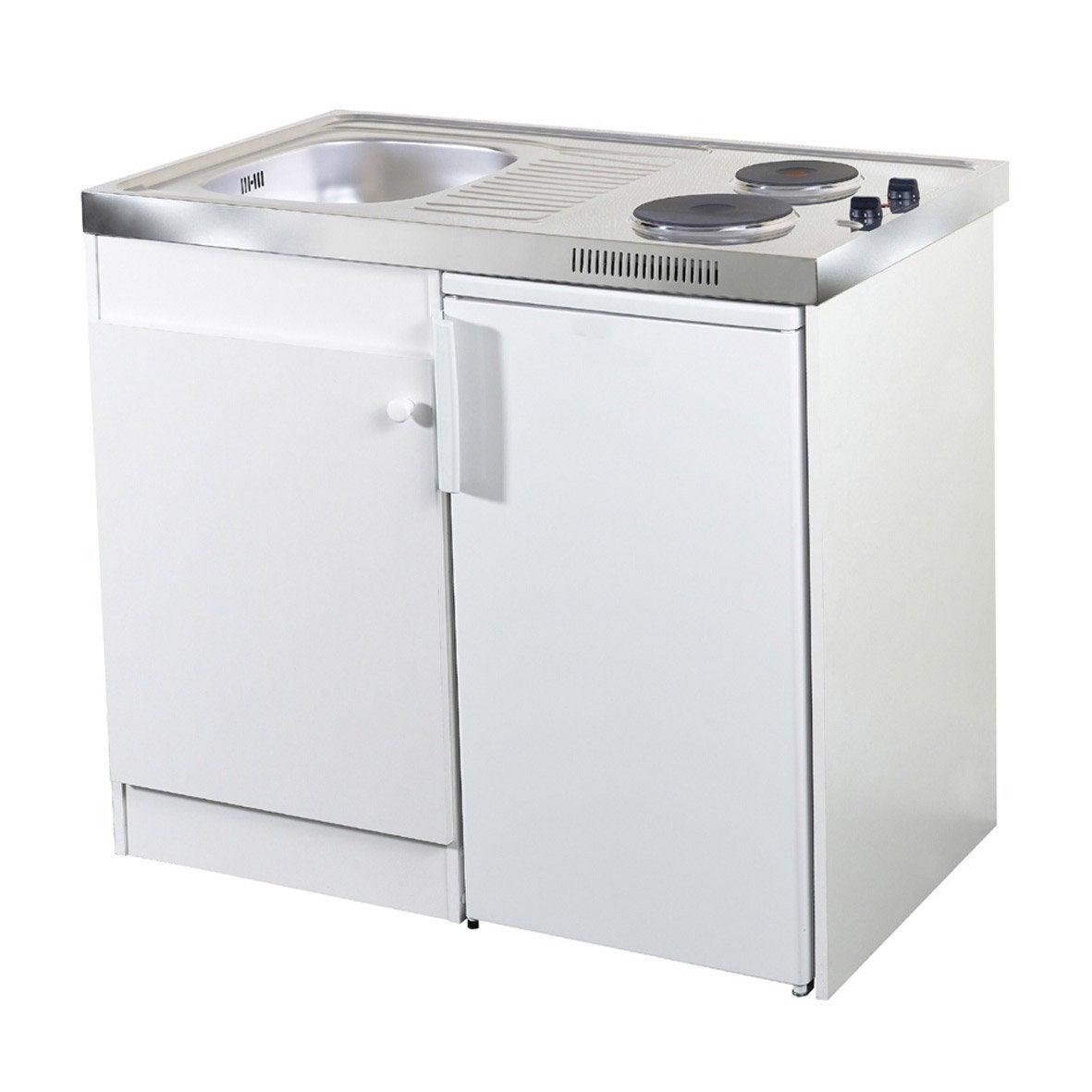 Elegant Kitchenette Electrique Blanc Spring H.92.5 X L.100 X P.60 Cm