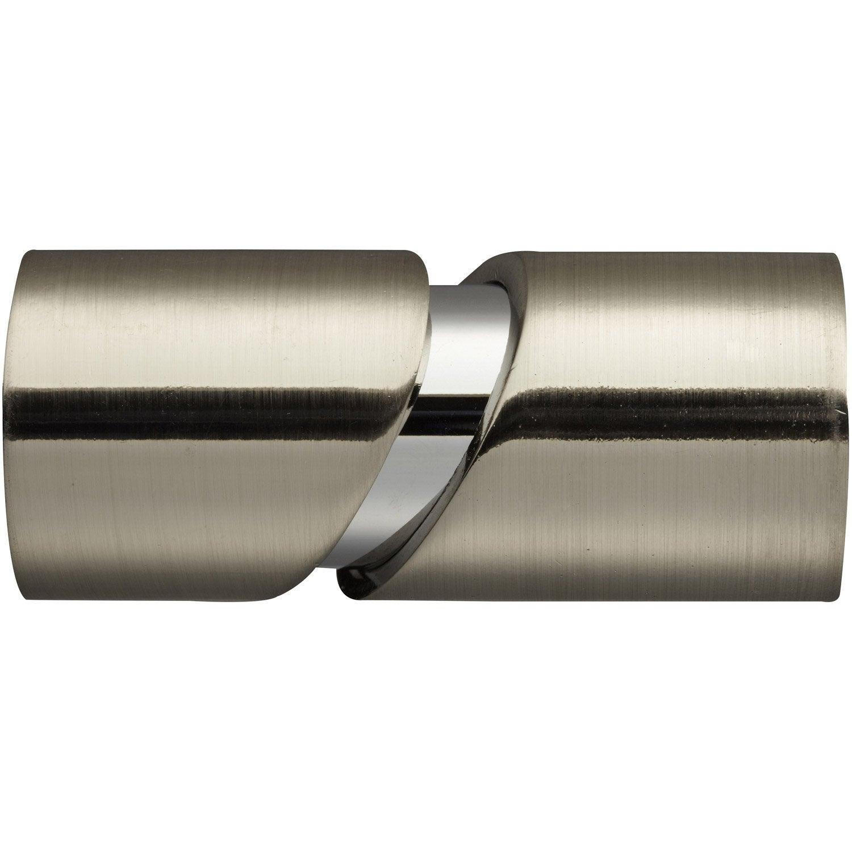 Embout INSPIRE, chromé brossé, pour tringle à rideau Diam.28 mm