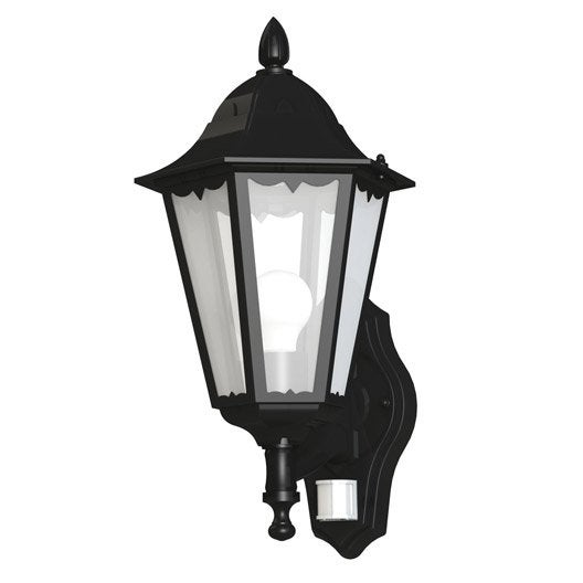 Applique montante ext rieure d tection navedo e27 noir for Luminaire exterieur design leroy merlin