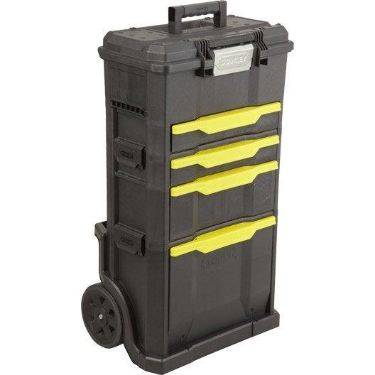 Servante + boîte à outils d'atelier en plastique STANLEY, 4 tiroirs