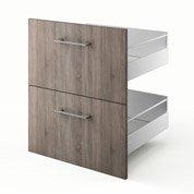 2 tiroirs de cuisine décor chêne havane 2D60 Topaze, L.60 x H.70 x P.55 cm