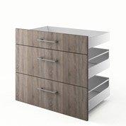 3 tiroirs de cuisine décor chêne havane 3D80 Topaze, L.80 x H.70 x P.55 cm