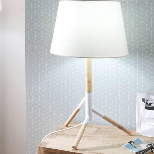 lampe e27 forest mathias tissu blanc 52 w leroy merlin. Black Bedroom Furniture Sets. Home Design Ideas