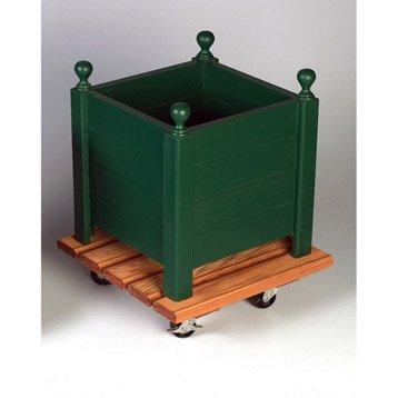 Support pot avec roulette carré bois