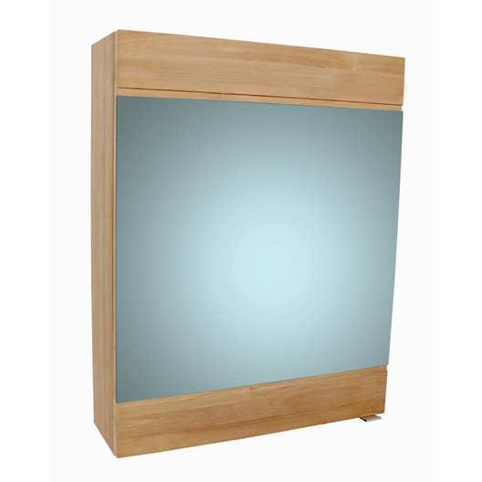 Armoire de toilette l. 60 cm, marron, SENSEA Moorea | Leroy Merlin