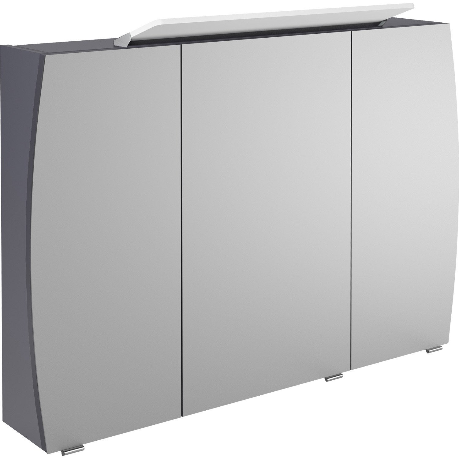 armoire de toilette lumineuse l 100 cm gris image. Black Bedroom Furniture Sets. Home Design Ideas