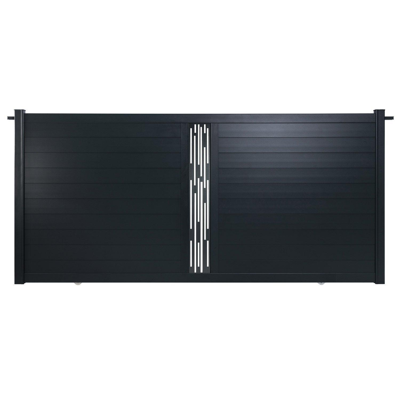 portail coulissant aluminium mix it ligne gris naterial cm x cm leroy merlin. Black Bedroom Furniture Sets. Home Design Ideas