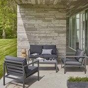 Salon bas de jardin Niagara aluminium gris, 4 personnes
