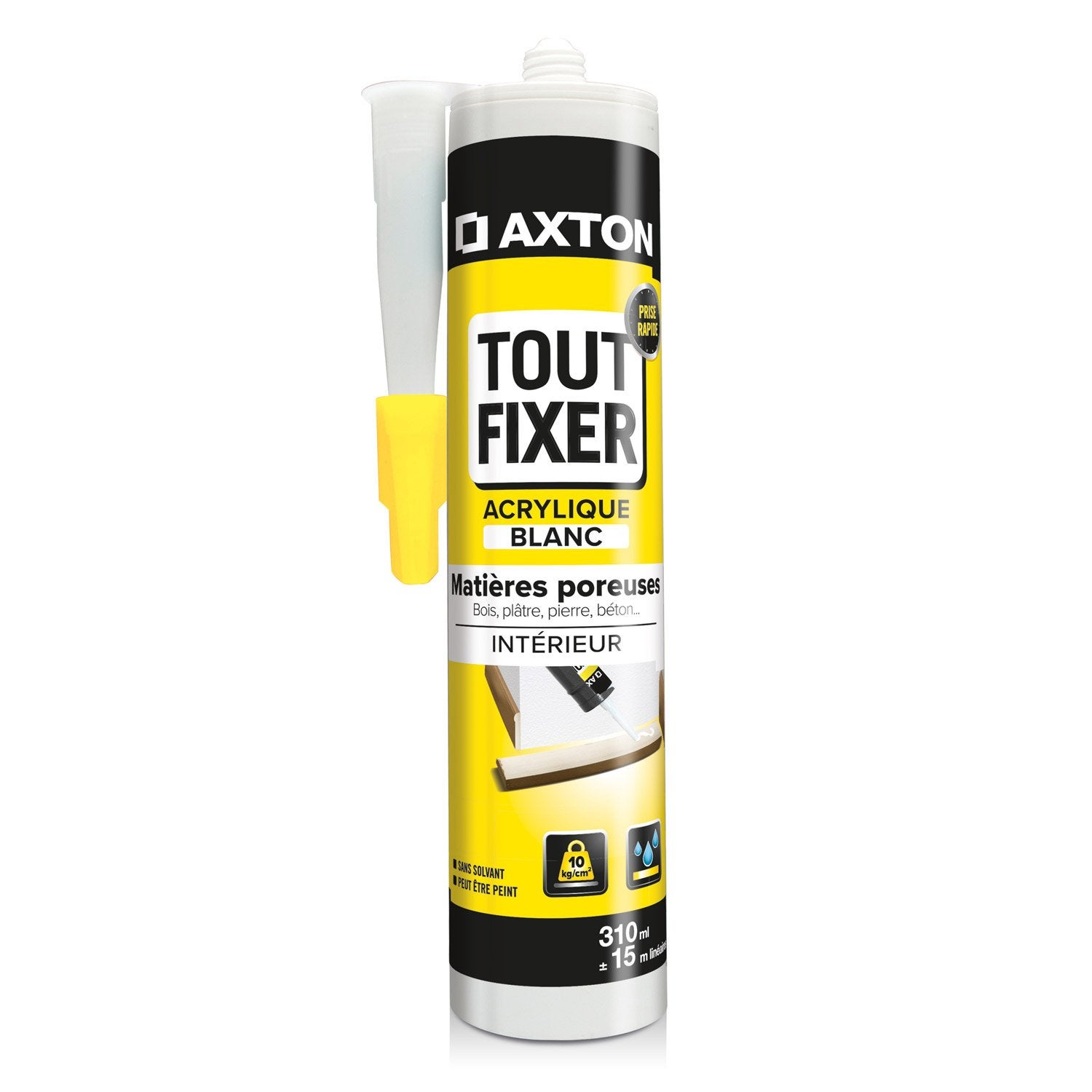 colle mastic tout fixer au mur blanche axton 310 ml leroy merlin. Black Bedroom Furniture Sets. Home Design Ideas