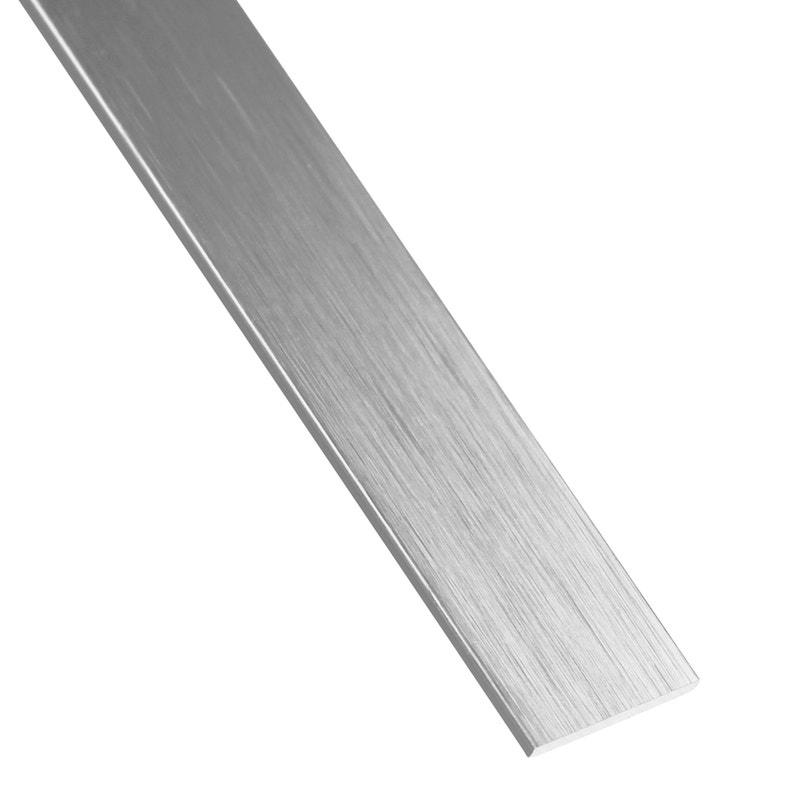 Plat Aluminium Anodisé Argent L26 M X L3 Cm X H02 Cm