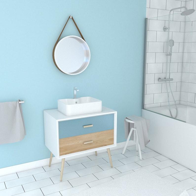 Meuble simple vasque, Fjord l.80 x H.47 x P.46 cm, bleu beige, Fjord