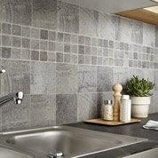 Carrelage sol et mur gris, Vestige l.15 x L.15 cm