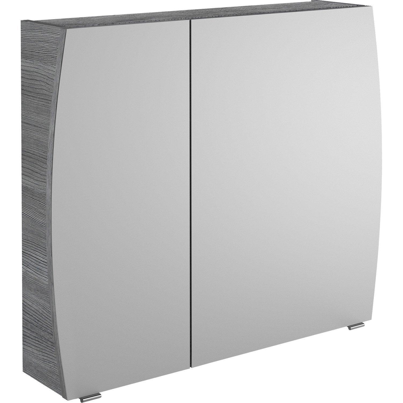 Armoire de toilette l. 80 cm, gris structuré Image | Leroy Merlin