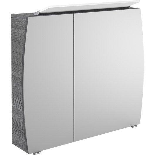 armoire de toilette lumineuse l 80 cm gris structur. Black Bedroom Furniture Sets. Home Design Ideas