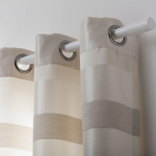 Rideau tamisant edimbourg ivoire blanc taupe x cm leroy merlin - Couleur blanc ivoire ...