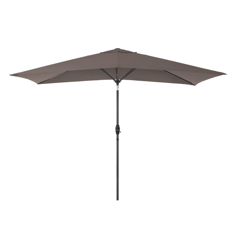 Parasol droit Koeos taupe rectangulaire, L.300 x l.200 cm   Leroy