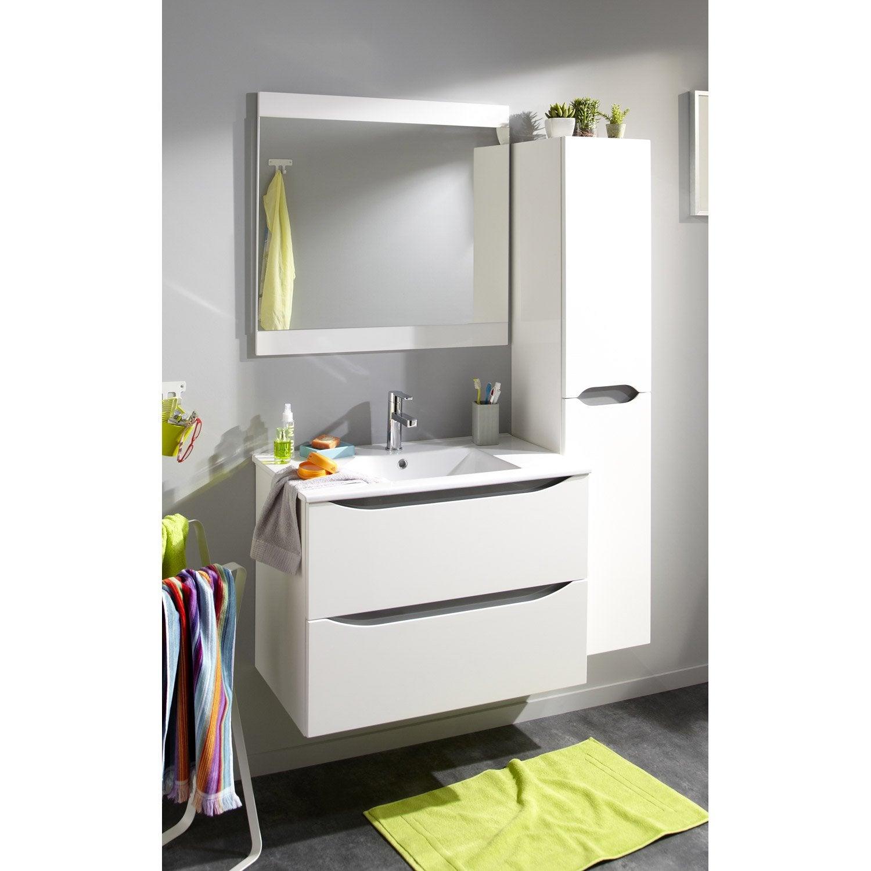 Meuble simple vasque l.79.6 x H.58 x P.45.7 cm, blanc, Smile