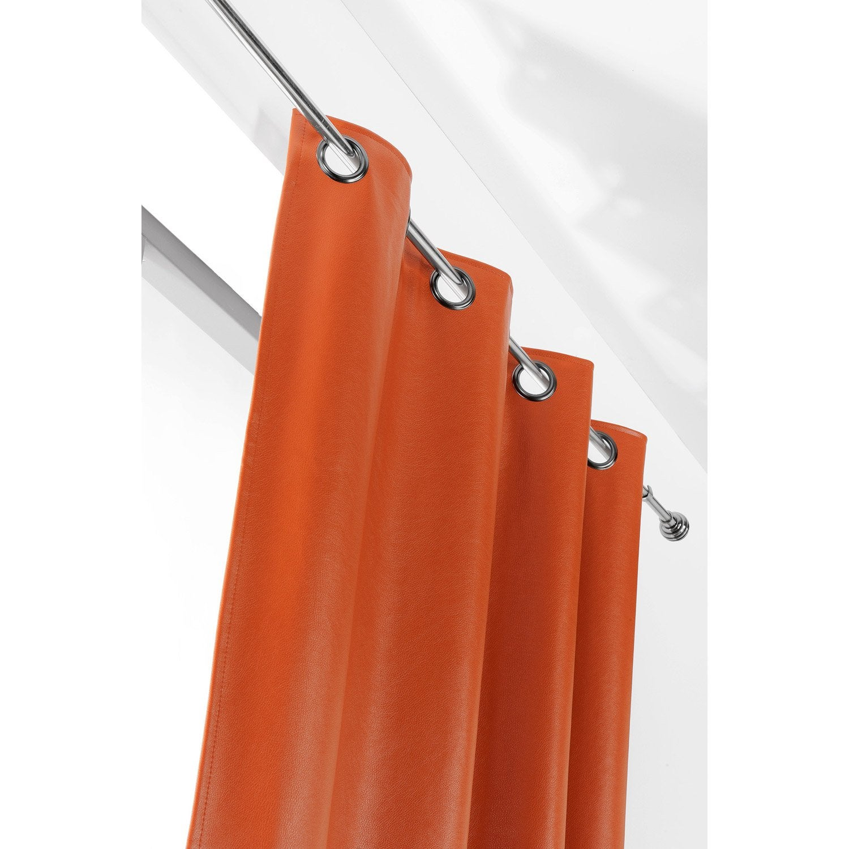 Rideau Tamisant Rideau Simili Cuir John Orange Brulee L 135 X H