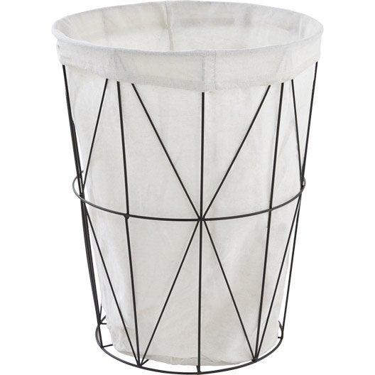 panier linge filaire noir x x cm. Black Bedroom Furniture Sets. Home Design Ideas